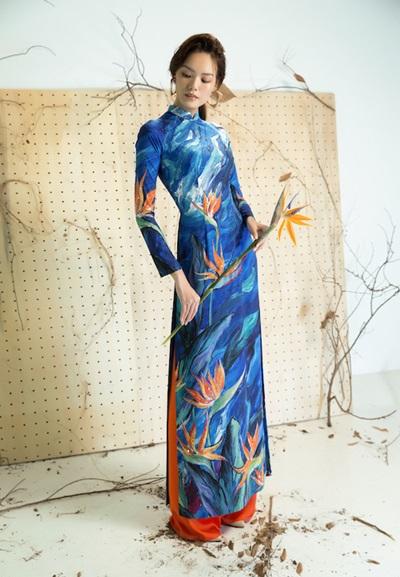 Áo dài họa tiết cánh chim, lá cây của Liên Hương - 8