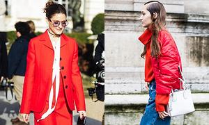 Sắc đỏ tràn ngập trên phố Tuần thời trang Paris