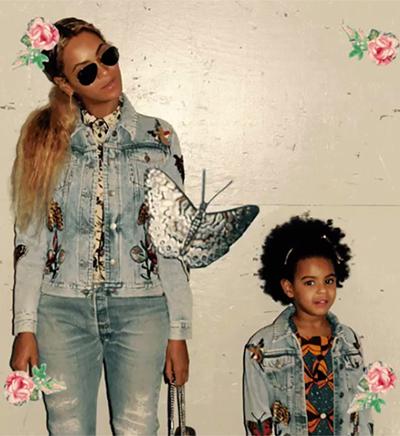 Blue Ivy trog bộ áo khoác denim của Gucci có giá 850 USD (khoảng 19,3 triệu đồng).