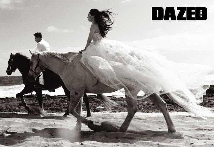 Taeyang và Min Hyo Rin cưỡi ngựa trong ảnh cưới