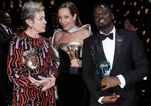 Từ trái sang:Frances McDormand (giải nữ chính),Allison Janney (giải nữ phụ), vàDaniel Kaluuya (giải ngôi sao triển vọng).