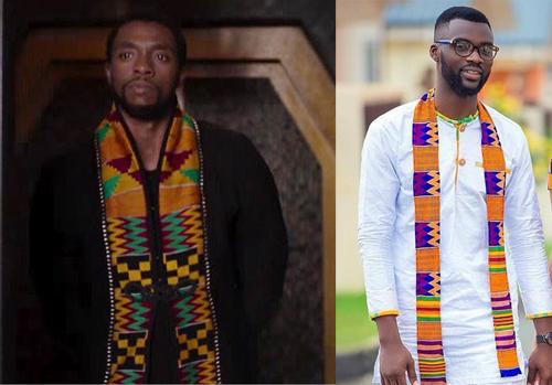 Chiếc khăn Kente mà nhân vật Hoàng tử TChalla (trái) dùng còn được gọi là Nwentom, một dạng khăn lụa và sợi bông quàng để tô điểm trang phục. Khăn này được người Akan ở nước Ghana thường sử dụng.