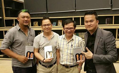 Phan Gia Nhật Linh (trái) và Nguyễn Nhật Ánh (thứ hai từ phải sang) trong buổi công bố dự án Cô gái đến từ hôm qua.
