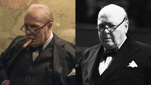 Gary Oldman (trái) sau khi hóa trang và nguyên mẫu Churchill.