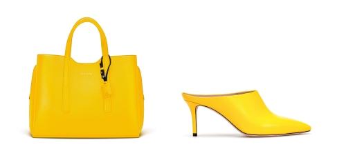 Cặp đôi giày mule mũi nhọn và túi tote bằng da thật màu vàng tương từ Italy sẽ mang lại sự nổi bật cho phái đẹp. Nếu màu sắc là điểm nhấn táo bạo thì kiểu dáng đơn giản tiện dụng lại mang đến sự cân bằng cho cặp đôi này.