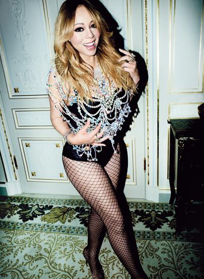 Mariah Carey với thân hình thon thả trên tạp chí V.