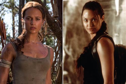 Alicia Vikander nổi bật không kém cạnh Angelina Jolie (phải) khi vào vai đả nữ Lara Croft.