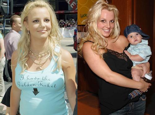 Britney Spears trong thời kỳ mang thai thai con đầu lòng với người chồng thứ hai -Kevin Federline hồi năm 2005 (trái). Cô sinhbéSean Preston Federline tháng 9/2015. Đến tháng 9/2016, cô tiếp tục sinh béJayden James Federline. Vì liên tiếp mang bầu, sinh con,Britney Spears tăng cân rõ rệt. Cô thường xuyên bị chê vì mặc trang phục luộm thuộm ra đường.