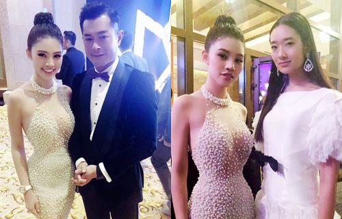 Tại sự kiện, cô gặp gỡ tài tử Cổ Thiên Lạc (trái) vàDiễn viên Chutimon (phải) của phim Thái Lan - Thiên tài bất hảo (Bad Genius).