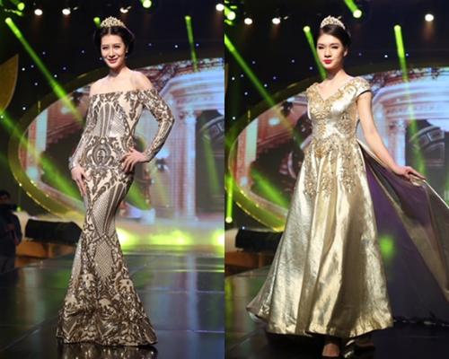 Nhà thiết kế mang đến những bộ váy với chất liệu tơ, ren lưới, kim sa ánh kim kết hợp cùng hiệu ứng xuyên thấu và hạt đá, hạt cườm, pha lê cao cấp.