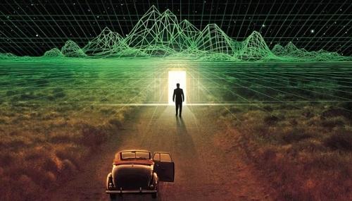 Một cảnh thế giới ảo trong phim.