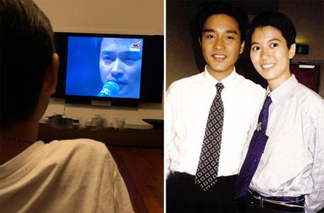 Viên Vịnh Nghi đăng ảnh con trai xem Trương Quốc Vinh hát. Cô và tài tử từng đóng chung phim Kim chi ngọc diệp.