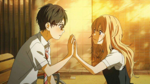 Arima Kōsei (trái) vàMiyazono Kaori trong phim Your Lie In April.