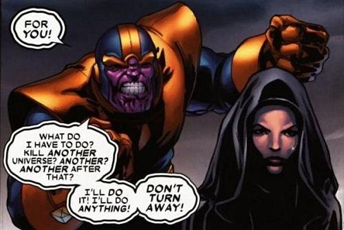 Thanos (trái) và Death trong truyện tranh Marvel.