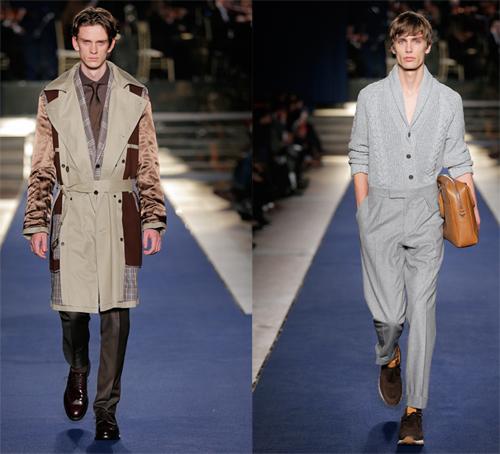 Chiếc áo khoác trench coat được mặc từ trong ra ngoài, nhằm làm nổi bật cấu trúc phức tạp của nó. Áo khoác len được sơ vin vào quần, màu monochrome, một kiểu phối hiện đại.