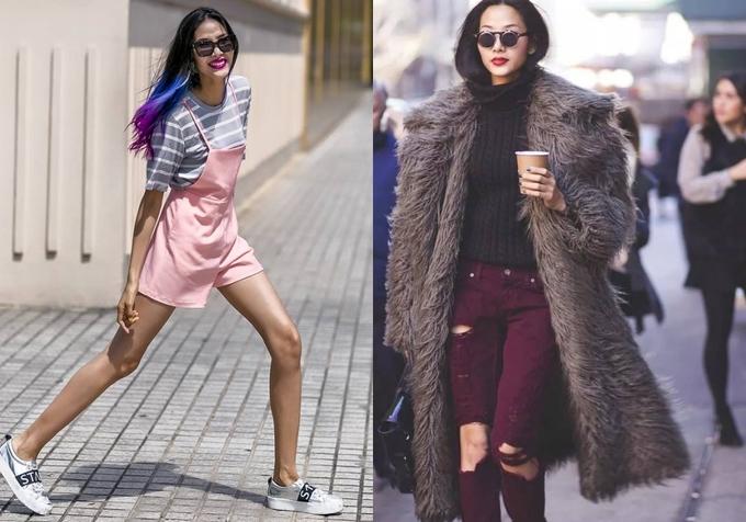 """<p class=""""Normal""""> Năm 2015 đánh dấu sự chuyển biến mạnh mẽ trong phong cách thời trang lẫn làm đẹp của Hoàng Thùy. Người mẫu định hình phong cách mặc cá tính, toát lên vẻ sành điệu với mái tóc nhuộm nhiều màu. Với bộ đồ gồm áo khoác lông, quần jeans rách, cô được xếp vào nhóm những tín đồ thời trang mặc đẹp tại show Jeremy Scott ở New York Fashion Week. Cũng tại tuần lễ thời trang này, cô gặt hái được nhiều show diễn.</p>"""