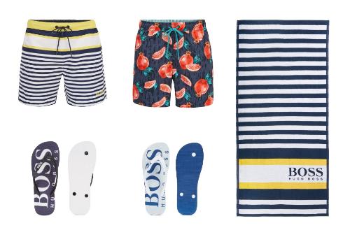 Mùa hè này, các mẫu quần bơi của BOSS được thiết kế từ những mẫu vải nhẹ, mềm và rất mau khô. Ngoài những dây buộc màu sắc nổi bật, họa tiết của những chiếc quần bơi cũng tạo ấn tượng như kẻ sọc thủy thủ với những khối màu vàng, trắng, xanh dương đối lập hay hoa quả nhiệt đới sặc sỡ. Bạn có thể mang theo chiếc khăn tắm của BOSS khi ra bể bơi hay biển.