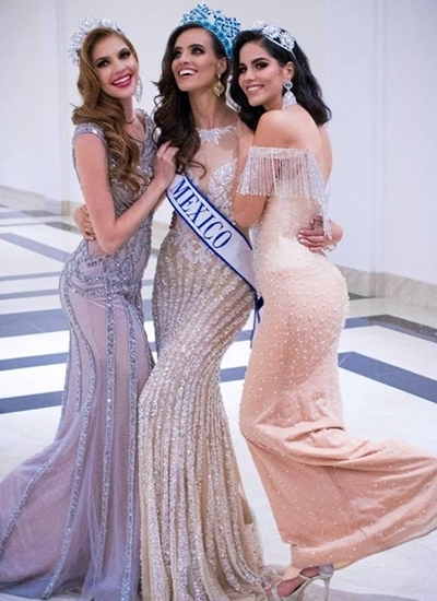 Tân hoa hậu Mexico (giữa) mặc