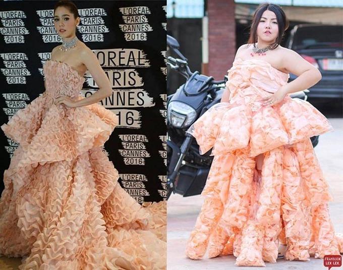 Cô gái Thái tái hiện váy mỹ nhân ở Cannes bằng rau, sầu riêng