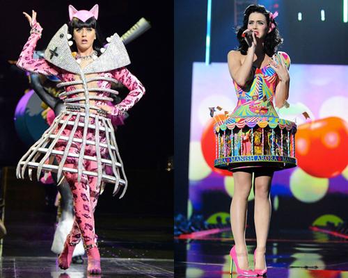 Katy Perry thường xuyên diện trang phục màu mè, lập dị trên sân khấu.