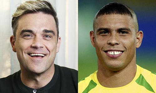 Robbie Williams (trái) và cựu cầu thủ Ronaldo.