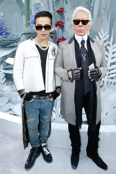 G-Dragon và Karl Lagerfeld.