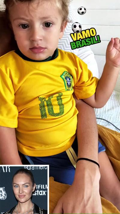 Siêu mẫu Candice Swanepoel mặc áo đội tuyển Brazil cho con trai 20 tháng tuổi để cổ vũ cho quê hương của hôn phu Hermann Nicoli.