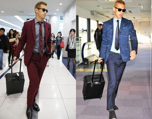 Trong khi các cầu thủ khác thường trung thành với suit đen, xám, Honda Keisuke nhiều lần thử nghiệm các gam màu mới lạ như đỏ đô, xanh tím than. Khi diện suit, cầu thủ chú trọng đến cà vạt. Anh phối phụ kiện này theo cách ton-sur-ton và chú ý gia giảm họa tiết để tạo điểm nhấn cho trang phục.