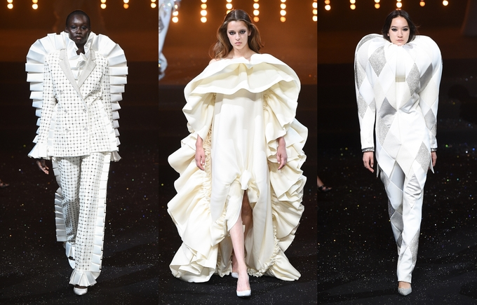 Váy xa xỉ bằng chăn, gối trong show của Viktor & Rolf