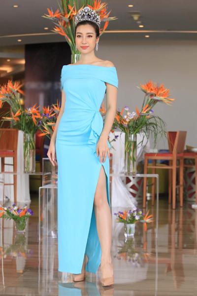 Hoa hậu Đỗ Mỹ Linh tại họp báo sáng 10/7.