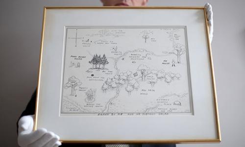 Bản gốc tấm bản đồ trong truyện Winnie-the-Pooh.