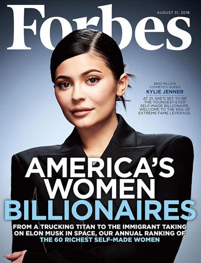 Kylie Jenner trên trang bìa Forbes số phát hành tháng 8.
