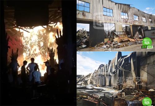 Hiện trường vụ cháy ở trường quay Hoành Điếm.