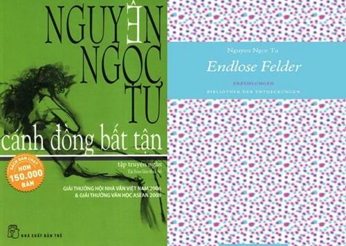 Bìa sách Nguyễn Ngọc Tư bản tiếng Việt (trái) và bản tiếng Đức.