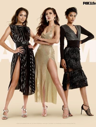 Minh Tú đứng giữa trong loạt ảnh poster cùng ba cựu thí sinh của chương trình.