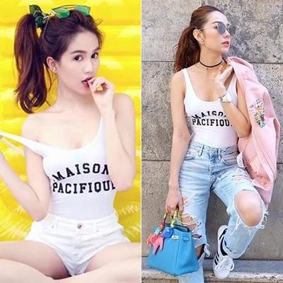 Thiết kế này cũng được Ngọc Trinh (trái) và Minh Hằng yêu thích. Cả hai mặc nó với quần shorts, quần jeans rách.