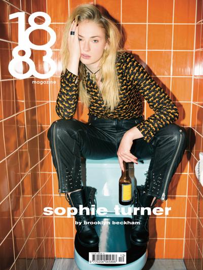 Trong bức ảnh bìa, Sophie Turner ngồi trên bồn nước của nhà vệ sinh, tay cầm chai bia. Cô mặc áo họa tiết da báo màu vàng đen, gương mặt mệt mỏi.