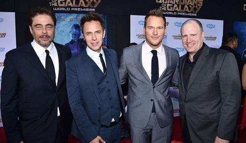 Từ trái sang: diễn viên Benicio del Toro, James Gunn, diễn viên Chris Pratt và Kevin Feige - chủ tịch Marvel Studios tại buổi ra mắt phim Guardians of the Galaxy năm 2014.