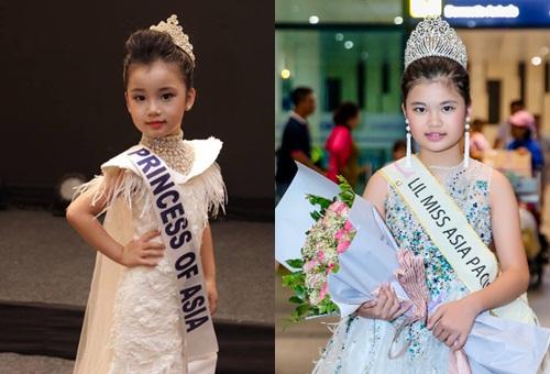 Nguyễn Ngọc Bảo Anh (5 tuổi) và Nguyễn Ngọc Trang Anh (10 tuổi) là gương mặt nhí nổi bật Việt Nam khi đoạt những giải cao tại hai cuộc thi quốc tế. Năm 2017, bé Bảo Anh (trái) đứng nhất cuộc thi Siêu mẫu nhí Quốc tế (Junior Model International 2017) tại Ấn Độ. Chị gái Trang Anh (phải) vừa đăng quang Hoàng tử và Công chúa Quốc tế (Prince & Princess International 2018) tại Thái Lan.