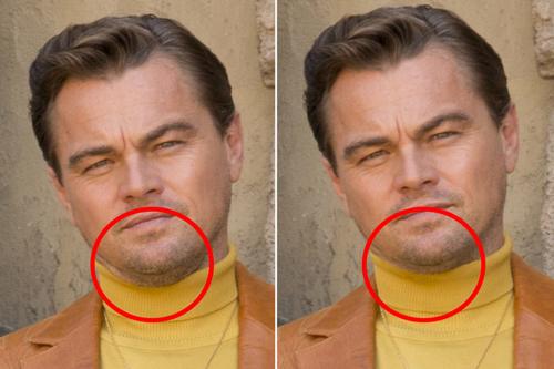Hình ảnh Leonardo DiCaprio trước (trái) và sau khi chỉnh sửa.