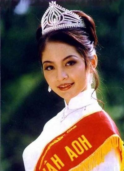 Thiên Nga thời điểm đăng quang Hoa hậu Việt Nam 1996.