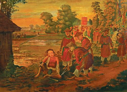 Bức Phạm Ngũ Lão (sơn dầu, 1923). Theo những bài viết trong tạp chí Nam Phong, bức tranh này được gọi là Trần Hưng Đạo.