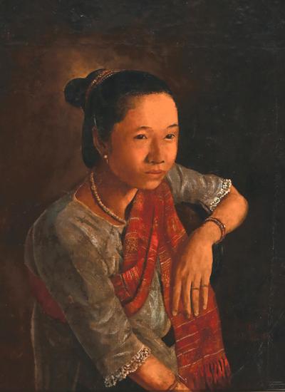 Tác phẩm Chân dung phụ nữ Lào (sơn dầu, 1925).