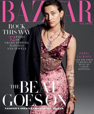 Hình ảnh của Paris Jackson trên trang bìa Harpers Bazaar Singapore.