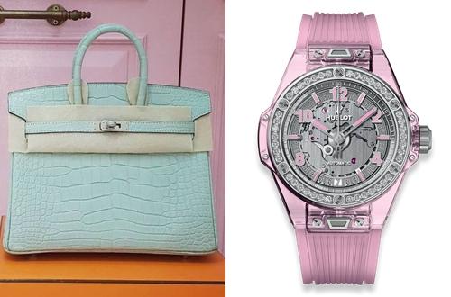 Chiếc túi xách và đồng hồ kim cương của cô có giá ba tỷ đồng.