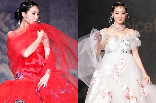 Choi Ji Woo lộng lẫy trên sàn catwalk với hàng chục chiếc váy màu sắc trong show năm 2007.