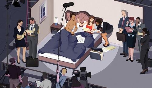 Biếm họa của Hollywood Reporter, minh họa việc diễn viên nữ nghiên cứu kỹ hợp đồng trước khi đóng cảnh nóng.