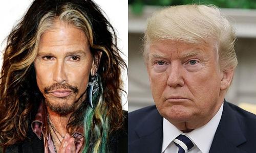Steven Tyler (trái) nhiều lần công khai phản đối Trump.
