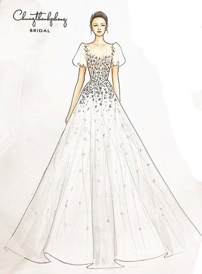 Chung Thanh Phong thiết kế váy đính hôn cho Nhã Phương.