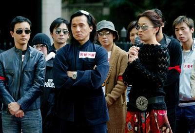 Từ trái sang: Trương Quốc Vinh, Thành Long, Lưu Gia Linh trong buổi biểu tình phản đối